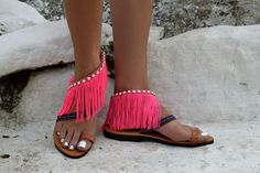 FREE SHIPPING Greek pom pom sandals .Visit our etsy store.