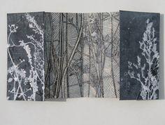 walking, picking, printing, drawing, folding nature mono print artists books with drawing