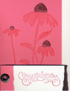 Handstamped Card  Congratulations Coneflowers by WoodstreamPapery