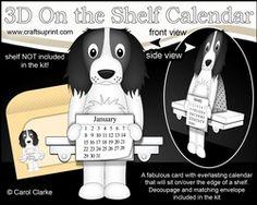 3D On The Shelf Everlasting Calendar Kit - Springer Spaniel Dog Blue