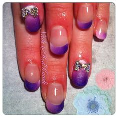 Pink purple and white ombré gel nails with acrylic paint. 3d diamond bows.