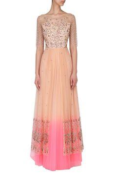 KUDI PATAKA DESIGNS Nude peach to neon pink ombred embroidered gown. Shop now! #kudipatakdesigns #nude #peach #neon #pink #ombre #embroidery #dress #gown #indiandesigners #indianfashion #perniaspopupshop #happyshopping