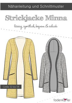 Knitting Patterns Cardigan With paper cut pattern Minna by Fadenkäfer, even those who are sewing can quickly and easily find a l . Paper Cutting Patterns, Pattern Paper, Knitting Patterns, Sewing Patterns, Crochet Patterns, Sew Ins, Crochet Cardigan Pattern, Patterned Sheets, Love Sewing