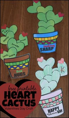 Cute Heart Cactus Craft - this FREE Printable Valentines Day craft is no prep! Just print cut and paste and you have an adorable February craft for toddler preschool kindergarten and other age kids for decorating walls bulletin boards or giving to kids. Valentine's Day Crafts For Kids, Valentine Crafts For Kids, Homemade Valentines, Valentine Wreath, Valentine Box, Valentine Ideas, Valentine Decorations, Kindergarten Crafts, Preschool Crafts