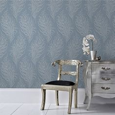 Graham & Brown Blue Quill Leaf Print Wallpaper | Debenhams