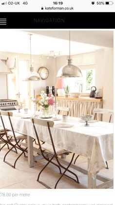 Kitchen decorated in Kate Forman fabrics Kitchen Diner Lounge, Come Dine With Me, Interior Design Inspiration, Kitchen Decor, Dining Table, Table Decorations, Kate Forman, Furniture, Kitchens