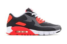 "Nike's beautiful, seamless ""Jacquard"" edition of the Air Max 90 has received the beloved Infrared treatment thanks to the release of a brand new White/Cool Grey-Black-Infrared colorway of the updated..."