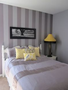 My guest bedroom - grey/purple and yellow (had to tie in the leg lamp!)