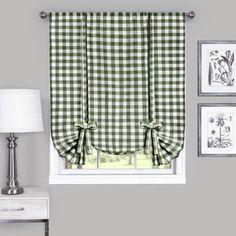 Buffalo Check Tie-Up Shade, 42 inch x 63 inch, Green