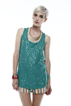 Teal Sequin Tank - this could be either dressed up or more casual, like this outfit