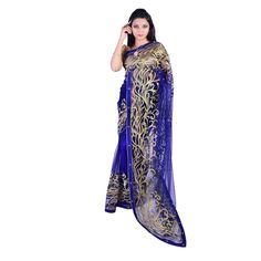 Shop online for a beautiful blue net saree with zari work only at sairandhri.com