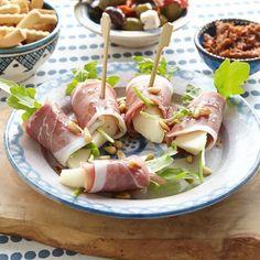 Ham-peerrolletjes met rucola ( ook lekker met nashi peer)