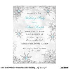 Teal Blue Winter Wonderland Birthday Party 5.5x7.5 Paper Invitation Card