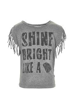 Minymo Pigetøj - Pige t-shirt med frynser på ærmer - Grey mel