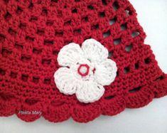 Red crochet hat,red summer hat,handmade hat,red white girl hat,crochet cotton hat,crochet gifts,handmade gift,accessories,summer hat,#etsy