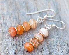 Peach Botswana Agate Earrings, Orange Natural Stone Earrings, Stacked Stone Orange Earrings, Ombre Earrings, Peach Earrings, Rustic Earrings