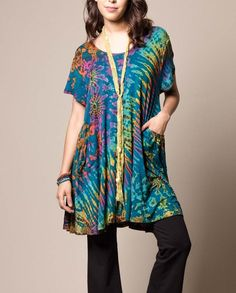 Easy Fit Pocket Tunic - Teal Blue
