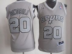 Spurs #20 Manu Ginobili Grey Big Color Fashion Embroidered NBA Jersey!$22.50USD
