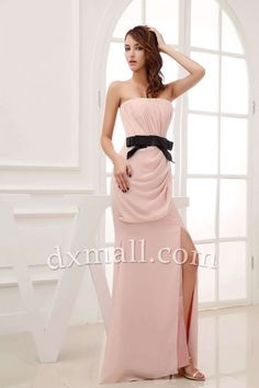 Sheath/Column Wedding Guest Dresses Strapless Sweep/Brush Train Chiffon Pink 130010400075