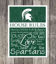 Michigan State Spartans House Rules 4x4.1/2 Fridge Magnet. Great for anyones Man Cave, Fridge, Tool Box, or wherever a magnet sticks.