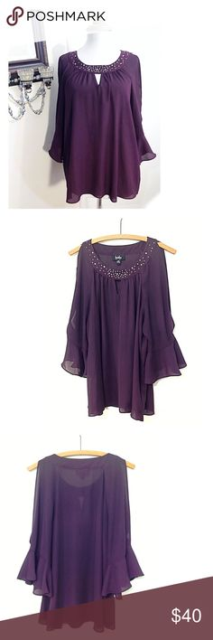 Aubergine Purple Split Sleeve Blouse / Tunic Top Beautiful Feminine Eggplant / Aubergine Purple Ruffled Bell Split Sleeve & Keyhole Neckline Loose Tunic Top • semi sheer embellished front, flowy blouse type • edgy  dressy look, great for casual office, every day work, shopping, weddings, church, formal events, fall / winter holiday parties! • gently worn once and washed • size XL, 100% polyester, pullover round neck • smoke & cat free home • God bless & happy poshing! By & By Tops Blouses
