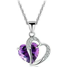 Purple Gem Heart Necklace This beautiful  Purple Gem Heart Neck would make a great present for any lady! Looks great with a formal dress or perfect for every day wear. Jewelry Necklaces