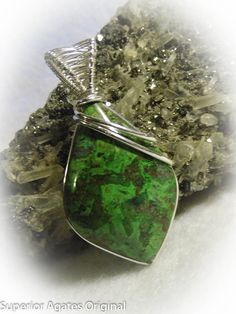 Green Chrysocolla Wire Wrapped Stone Pendant by superioragates, $25.00