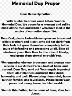 happy memorial day prayer