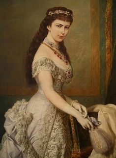 Sisi wearing a white ballgown with Emerald tiara ca. 1952. Elisabeth of Austria (due to the movie also known now as Sissi, 1837-1898)