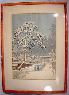 Kawase HASUI Ikegami Honmonji Temple / Honmonji Temple in Snow Woodblock Print Lifetime Strike Japanese Words, Woodblock Print, Marketing And Advertising, All Things, Temple, Vintage World Maps, Whimsical, Unique Gifts, Handmade Items