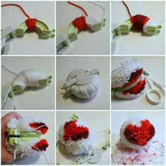 DIY multi-coloured heart Pom pom