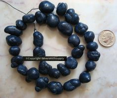 """Nugget beads Navy Blue dyed magnesite irregular baroque shaped 14"""" 12-16mm bs012 #Silversmithsupply #Nugget"""