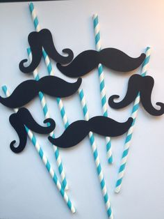 12 Blue Mustache Party Straws,Little Man First Birthday,Baby Showers,Mustache Straws,Mustache Photo Prop,Mustache Party Decor,Bachelorette. $13.99, via Etsy.