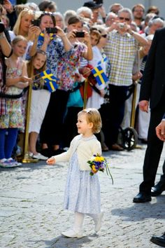 Swedish Princess Estelle carries out her first official engagement with her parents. As they visits the castle of Linkoping and open a new Fairytale Path at lake Takern in Sweden, May 17, 2014.