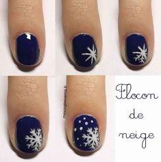 Nail art flocon de neige. 12 Nail arts pour un beau Noël jusqu'au bout des ongles