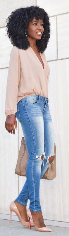 Nude And Denim Stylish Outfit Idea by Style Pantry