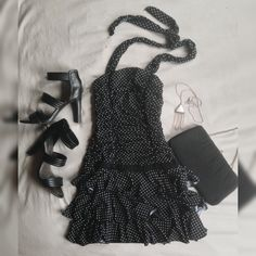 Retro Black Halter Dress with White Polka Dots 🐼 So cute! From the 90's--its got that retro ruffle-y flare to it! Strap on some heels and you're ready to roll! **19 Year Old struggling to find a job in Boston, make me any offer 🌼** Candie's Dresses