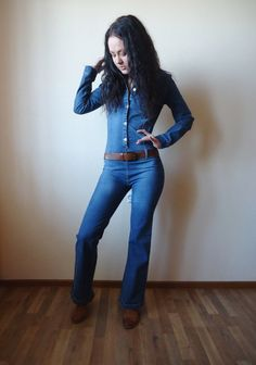 Woman in a Denim Jumpsuit