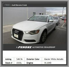 2013 Audi A6 3.0T quattro Premium Plus Sedan  Braking Assist, Seatbelt Pretensioners: Front And Rear, Front Ventilated Disc Brakes, Privacy Glass: Light, Driver Seat Memory, Cupholders: Front And Rear, Max Cargo Capacity: 14 Cu.Ft., Door Reinforcement: Side-Impact Door Beam,