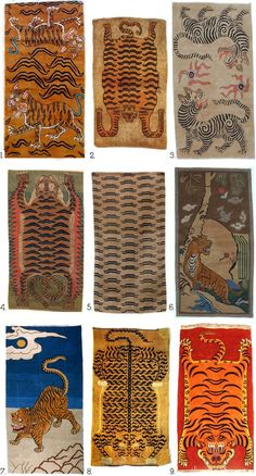 A collection of tibetan tiger Rugs from Carlo Ferrari's excellent board of art and antique restoration Textiles, Textile Patterns, Textile Design, Textile Art, Tableaux D'inspiration, Tiger Rug, Tibetan Rugs, Arte Popular, Rug Making