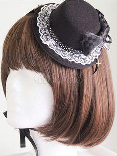 Black Bow Lace Synthetic Lolita Headdress - Milanoo.com