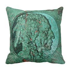 Verdigris Indian Head Nickel Throw Pillow
