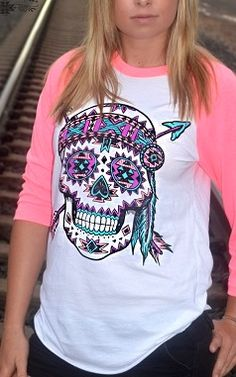 Sugar Skull with Pink Sleeves S-XXL *Free Shipping www.countrylace.co