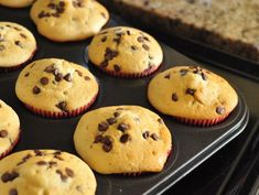 Chocolate chip muffins from scratch - these taste like cookie dough! Very quick and easy to make.