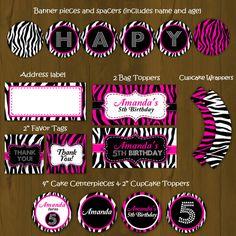 Hot Pink and Zebra Stripes Printable Birthday Party Package - Hot Pink and Zebra Complete Birthday Set -