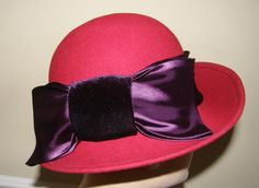 Red Hat Vintage Asymmetrical Brim 100 Wool with by Nicholettes, $31.00
