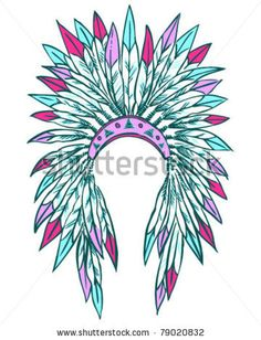 Indian Headdress Watercolor Illustration Painting Native