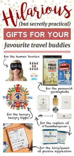 Hilarious but practical gifts for your friends who travel! This gift guide is the ultimate source for funny gag gifts that you can give to your travel buddies.