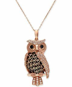 $1400.00 but I really do love it! Confetti by EFFY 14k Rose Gold White and Chocolate Diamond Owl Pendant (1/2 ct. t.w.)