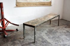 Handmade Industrial Style Bench Steel and Alder por RehabVintageLA
